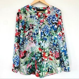 Talbots floral print 1/2 button tunic top